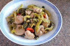 Stir Fried Pickled Mustard Greens with Chicken and Pork Balls