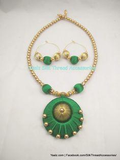 Jewels Silk Thread Bangles Design, Silk Thread Necklace, Silk Bangles, Beaded Necklace Patterns, Thread Jewellery, Temple Jewellery, Fabric Jewelry, Jewelry Patterns, Thread Chains