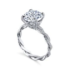 """MICHAEL B.'s """"Infinity"""" ring with diamond prongs and tips is a true testament to love that lasts an infinity MB1-40-28P-DPT. Hand braided and custom made, available in Platinum, 18K Rose,White, Yellow or mixed metal combinations. Available also with no diamonds, and with diamonds only on 1 braid."""