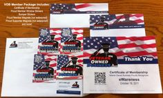 Veteran Owned Business Member Package including VOB Member Certificate, member window clings, stickers, magnets, business cards and more.