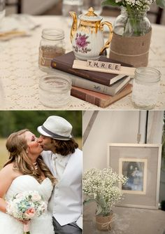 Handmade, vintage-inspired centerpiece #teapot #scrabble #wedding (Images by This Sweet Love Photography)
