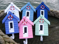 Beach Hut Hooks - another fab item for my tear drop interior - a definite theme has emerged! Beach Hut Interior, Beach House Decor, Home Decor, Popsicle Stick Crafts House, Craft Stick Crafts, Seaside Bathroom, Hot Tub Garden, Beach Crafts, T Lights