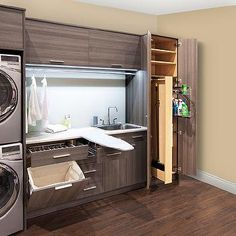 Melamine Laundry Room Cabinets with Hidden Pop Up Ironing Board Organizing Ideas, Organization, Kitchen Ideas, New Kitchen, Drying Room, Storage Rack, Kitchen Storage, Play, Canning