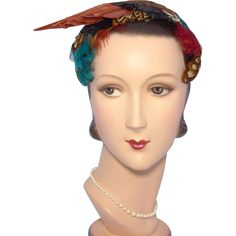 Vintage 1950s Feather Hat by Fleur de Lis available at My Vintage Clothes Line on Ruby Lane.