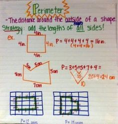 Perimeter, calculate odd objects that aren't segmented and countable by splitting into rectangles and calculating separately, then adding the results.