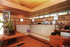 Buying a Frank Lloyd Wright original would be like trying to buy a priceless museum artifact.On Vashon you can live in a house inspired by his ideas for $374,000. Usonian, Organic Architecture, Frank Lloyd Wright, Corner Desk, Cottage, Museum, Inspired, The Originals, Live