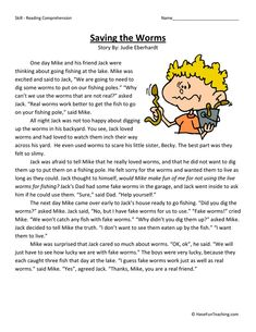 Saving the Worms – Second Grade Reading Comprehension Test: Use the information in the story to answer the 5 comprehension questions. Answer Key Is Included. Test Type: Poem Grade Level: Second Grade Saving the Worms 2nd Grade Reading Comprehension, 6th Grade Reading, Reading Fluency, Reading Passages, Student Reading, Reading Strategies, Kids Reading, Reading Skills, Teaching Reading