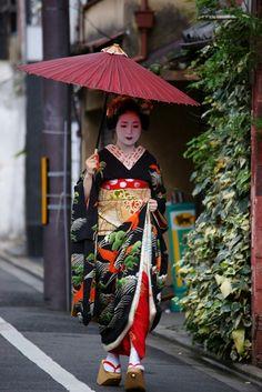 Shigyoshiki 2016 with…The maiko Tomitsuyu! Notice the pheonix on her kimono! Japanese Geisha, Japanese Kimono, Japanese Beauty, Samurai, Japanese Colors, Kimono Japan, Japanese Costume, Black Kimono, Japanese Outfits