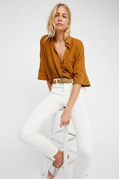 FREE PEOPLE | £68 | Best Of Me oversized shirt in gingersnap