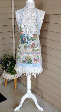 Upcycled apron, wedding apron, cottage apron.