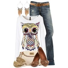 """Owl"" by colierollers on Polyvore....love the t shirt but hate white!"