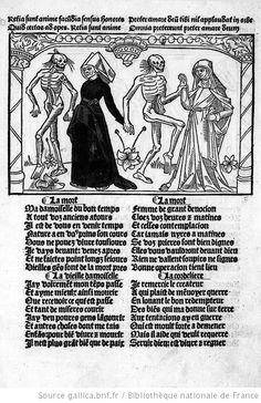 Cy est la Danse Macabre des Femmes Toute Hystoriée et Augmentée', 1491 Memento Mori, La Danse Macabre, Dance Of Death, Demonology, Scroll Pattern, Medieval Art, Vanitas, Ex Libris, Book Of Shadows