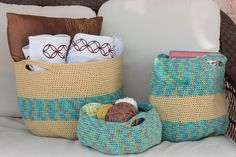 Beautifully Crocheted Handy Baskets (set of by SutakuBoutique on Etsy Straw Bag, Crocheting, Knit Crochet, Baskets, My Etsy Shop, Knitting, Creative, Handmade, Bags