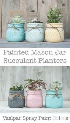 Painted mason jars using Valspar spray paint.  Koi Pond, La Fonda Mirage, Whipped Apricot,  Cobalt Cannon, and Thistle Field.