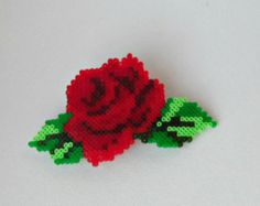 Hama mini, red rose, flower, barrette, hair clip