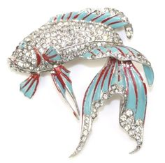 MB Boucher RARE 1940's Enamel Pave Rhinestone Siamese Fighting Fish Pin | eBay