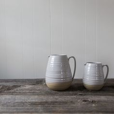 Proven as an elegant workhorse on the farmhouse table this piece is fundamental in daily utility. Its hand formed spout and sturdy handle are uniquely crafted elements that provide easy pouring. Also