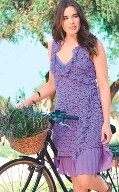 Delicado túnica lila vestido de verano