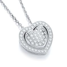 Repin #Affordable #Fashion #jewellery for that celebrity look - #J.Jaz Micro Pave#039; Heart #Pendant with 46cm Chain for only £39.Visit us at our store www.diamonds2desi...