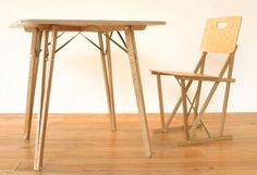 Michael Marriott. XL1.2 Re-designed kit chair and table for Trico, Japan.