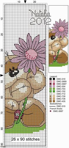 Cross Stitch Craze: Fizzy Moon Bear with Flowers - Free Patterns