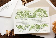 I love hydrangea! The blossom gets the letterpress treatment in this spring-green design by Echo Letterpress.