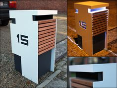 A stainless steel mailbox does not have to look boring - on the contrary, as the Belgian manufacturer of Ambrosia drawing clearly shows. Stainless Steel Mailbox, Garden Furniture Design, Modern Mailbox, Mailbox Landscaping, Modern Landscaping, Wall Mount Mailbox, Exterior Makeover, Signage Design, House Numbers