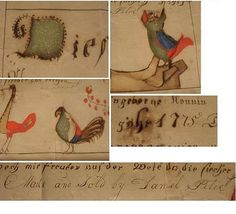Signed and dated (1775) fraktur with wonderful colors. Appears to be hand written (later ones were preprinted) Although it is written in German, the last line is in English. Looking at it carefully there appear to be two sets of handwriting, one with a thicker pen and darker ink the other light and florid.
