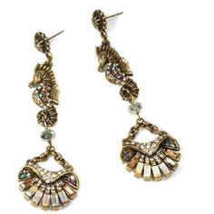 Sweet Romance Art Deco Seahorse and Shell Earrings ($45) ❤ liked on Polyvore featuring jewelry, earrings, yellow, drusy earrings, vintage style earrings, druzy earrings, long dangle earrings and deco earrings