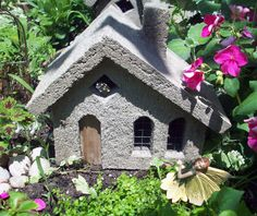 Hypertufa Garden Sculpture | Concrete Fairy Cottage Free Shipping by blithegardens on Etsy