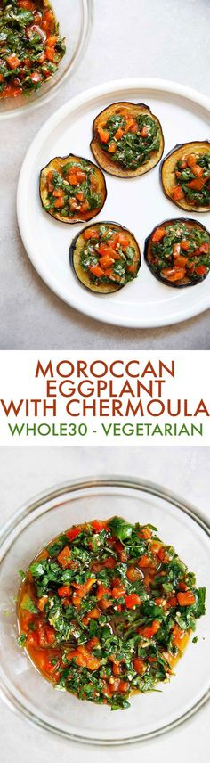 This Moroccan eggplant recipe is easy to make, has so much flavor, and is SO SO delicious. The perfect Moroccan starter! Plus, the chermoula with roasted peppers would be fabulous on fish, meat, or chicken, too!