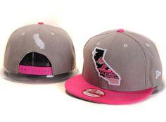 California Republic New Era Cap 9Fifty Snapback Hat Gray Pink 029