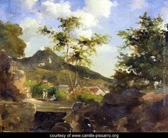 Village at the Foot of a Hill in Saint Thomas, Antilles - Camille Pissarro - www.camille-pissarro.org