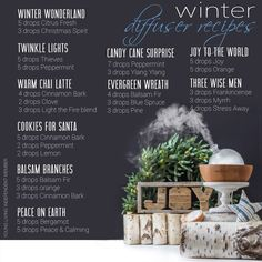 EOs: Winter Diffuser Recipes for Essential Oils Young Living Essential Oils, Essential Oil Blends, Food Charts, Diffuser Recipes, Joy To The World, Have You Tried, Diffuser Blends, Peppermint, How To Find Out