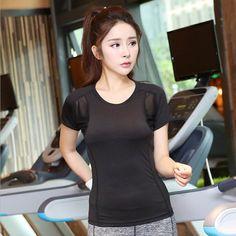 B.BANG Professional Sports T shirt Women Short-sleeved Female Tops for Gym Running Yoga Shirts Sexy Black Mesh Quick Drying Tees
