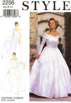 1992--Style Wedding Dress Pattern 2256 Misses' Off by ThePatternSource, $22.00