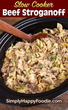 Slow Cooker Beef Stroganoff Has Tender Beef Strips, And A Rich, Creamy Sauce Over Egg Noodles. This Classic Recipe Is A Family Favorite, Without The Cream Of Soup. Stewing pot Beef Stroganoff Is An Easy To Make Slow Cooker Dump And Start Recipe. Ground Beef Stroganoff, Recipe For Beef Stroganoff, Crock Pot Stroganoff, Slow Cooker Beef Stroganoff Recipe, Slow Cooker Ground Beef, Ground Beef Recipes, Crock Pot Ground Beef Recipe, Slow Cooking, Beef Strips
