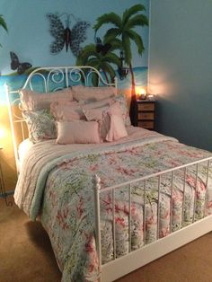 LC Lauren Conrad teaberry bedding set from kohls with ikea leirvik bed frame. I'm obsessed!