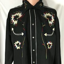 Vintage 70s H Bar C Long Tail Embroidered Flower Western Shirt XL Ranchwear