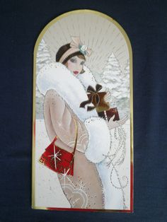 Luxury slim Art Deco Lady Shiny Foil Christmas Card Clintons in Home, Furniture & DIY, Celebrations & Occasions, Cards & Stationery | eBay