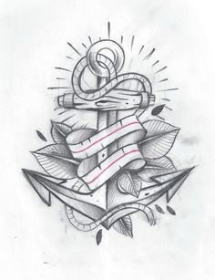 anchor and ribbon tattoo - Google Search
