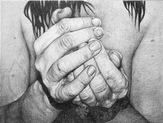 SlIpping 3  by Gry Hege Rinaldo. Pencil on mdf-board.