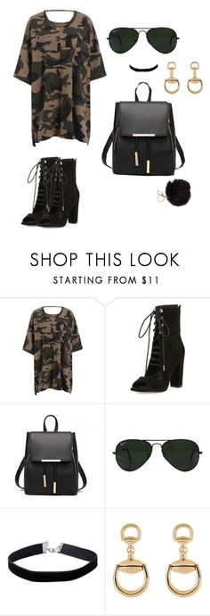 """Camo"" by briebunds ❤ liked on Polyvore featuring Kendall + Kylie, Ray-Ban, Miss Selfridge and Gucci"