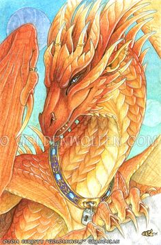 Red Orange Cinnabar Dragon Print