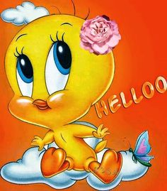 Pinned by sherry decker Cartoon Jokes, Funny Cartoons, Cartoon Characters, Hello Cartoon, Tiny Toons, Tweety Bird Quotes, Hello Quotes, Naughty Emoji, Baby Looney Tunes
