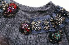 PRADA F/W 2004 Embellished Grey Wool Long Chunky Knit Sweater