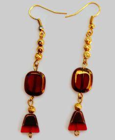 Red Glass Bead Earrings, Red-Gold Bead Earrings, Double Color Bead Earrings,Multi shaped Bead Earrings,Dangle and Drop Earrings,Holiday gift by SunMoonJewels on Etsy