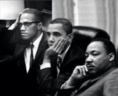 Historical figures  Van links naar rechts: Martin Luther King, Barrack Obama, Malcom X