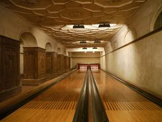 Private bowling alley at the Henry Clay Frick mansion, New York.