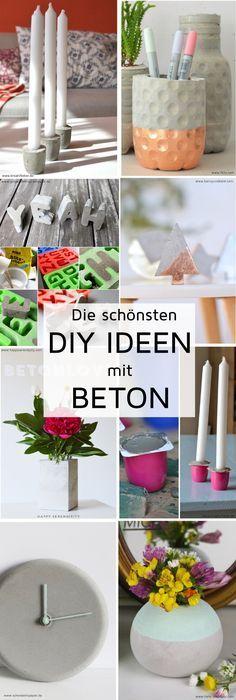 Die schönsten DIY Ideen mit Beton - Deko, Geschenke und Interieur aus Beton basteln. Mehr dazu erfahrt ihr auf Madmoisell.com! (Cool Crafts Art)